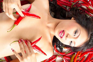 Hot Thailand babe lying in chillies